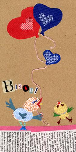 collage bisou avec oiseaux stylisés